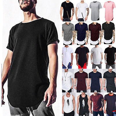 Men Extended T-Shirt Longline Tee Tops Summer Short Sleeve Casual Long Blouse AU