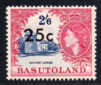 Basutoland 25 Cent on 2/6 Stamp c1961 Mounted Mint (1308)