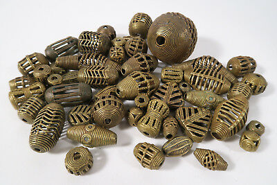 Großes Lot Messingperlen L5 Gelbguß Ghana Brass Beads Ashanti Akan Afrozip