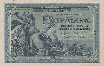 Germany 5 mark 1904 / a Vf / P 8 / 143 / Dragon