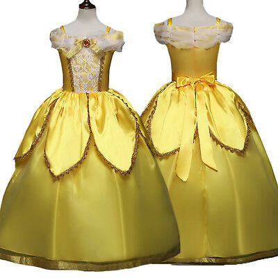 Princess Belle Dress Up Girls Kids Dresses Party Fancy Costume Cosplay Clothes