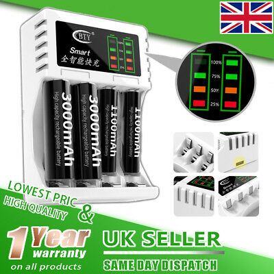 Intelligent Fast Led Charger for AA AAA Ni-MH Ni-Cd Rechargeable Battery NEW UK