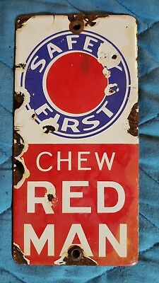 """VINTAGE 1950s CHEW RED MAN CIGARETTES AND TABACO ADVERTISING PORCELAIN SIGN 6""""3"""""""
