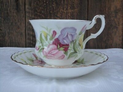 Royal Albert Bone China Cup Saucer Flower Of The Month Series April Sweet Pea