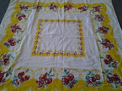 "Vtg VIBRANT OLD YELLOW DARK PINK FRUIT TABLE CLOTH appro 48 x 48"" bark cloth??"