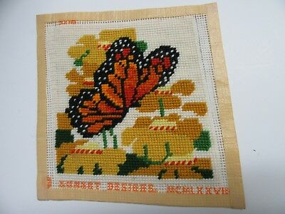 Sunset Finished Needlepoint Monarch Butterfly Completed 5x5 Vintage