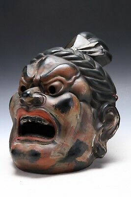 Old Vintage Plaster Buddhism Mask Plaque -Nio- Showa Product