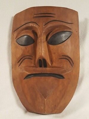 "Antique African Wood Carving Sculpture Primitive Art ~ 13.75"" Mask"