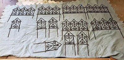 Antique Victorian Lot  Wrought Iron Garden Edging Fence Interlocking Sections