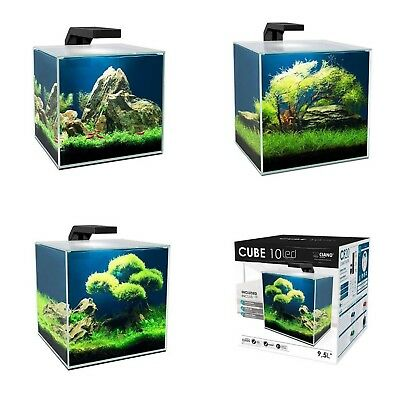 Ciano Cube Glass Aquarium Includes Glass Lid LED Lights & Filter - 3 Sizes