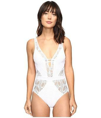 5d2720151ff2b Becca by Rebecca Virtue 6418 White Crochet Plunge One Piece Swimsuit Size  Large