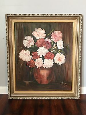 Flower Painting Large Oil on Canvas Peonies ? Framed Shabby Chic Signed Wall Art