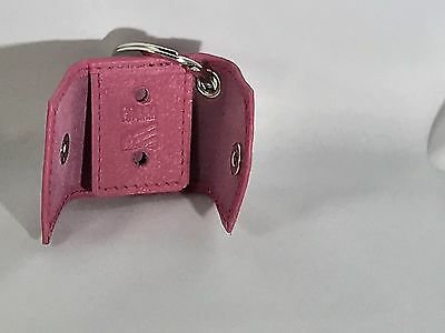 Leather Key Ring Pink Mini Shield -  Snap Universal  Holder