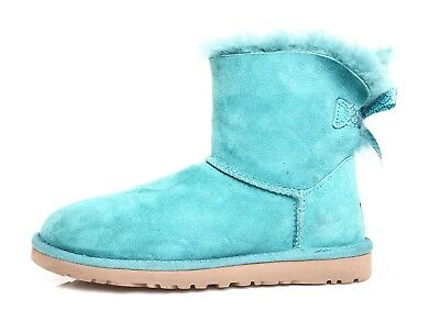 UGG Mini Bailey Bow Genuine Shearling Lined Boot Turquoise Girls Sz 5 4215 *