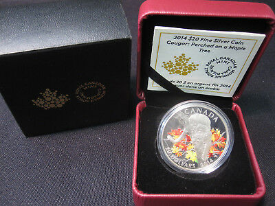 2014 $20 Fine Silver Coin RCM Cougar Perched On A Maple Tree