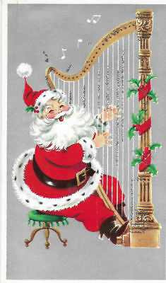 Vintage 1960s Santa Playing Large Harp with Glitter Christmas card