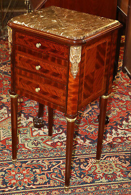 Superb French Burled Walnut & Marble Humidor Night Stand C1890s MINT