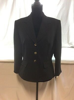 Tahari Arthur S Levine women size 12 business Blackcareer blazer jacket 3 button
