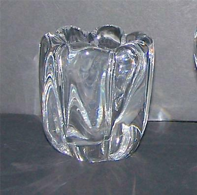 MCM Orrefors Crystal Rose Bowl Vase Signed C1940+1950s Sweden Swedish