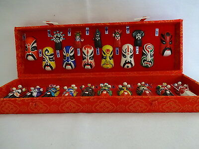 Chinese Beijing Miniature Handpainted Opera Masks - Set of 23 - Original Box