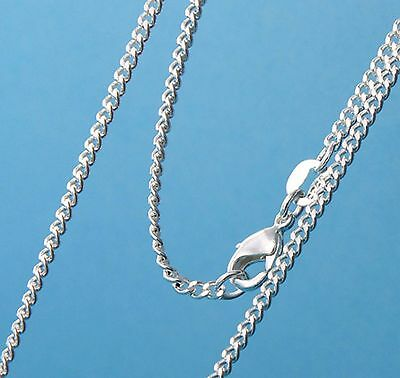 2mm Silver stamped Link Grinding chain necklace Sterling pendant curb 925 16-30""