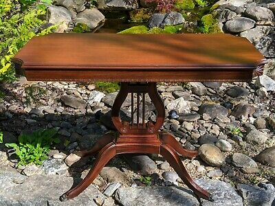Antique Duncan Phyfe Style American Federal Mahogany Console Table Harp/Lyre