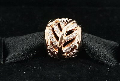 New Authentic Pandora Rose Gold Clear CZ Shimmering Feather Charm 781186CZ