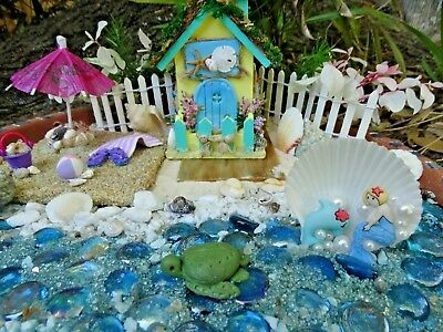 Mini Beach Fairy Garden Starter Set Kit Mermaid Cottage House Sand Shells