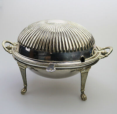 Antique silver plate an electroplate fluted Rolltop Breakfast Dish C.1900