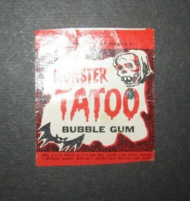 Early 1960's Topps Monster Tatoo Bubble Gum Wrapper (Trimmed)