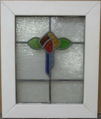 "OLD ENGLISH LEADED STAINED GLASS WINDOW Colorful Floral Design 17"" x 20.5"""