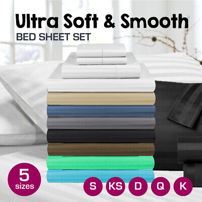 1000TC Microfibre 1cm Stripe Single/KS/Double/Queen/King Fitted, Flat  Sheet Set