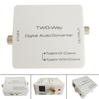 Optical Coaxial Toslink Digital to Analog 2way Audio Converter Adapter RCA Cable