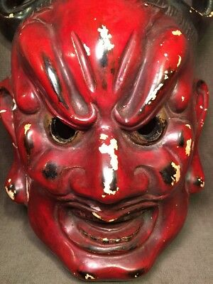 Vintage 1950s Japanese Tengu Hannya Evil Demon Mask Chalkware AS IS