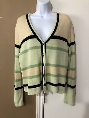 St John Sport by Marie Gray Sz L Santana Knit Blazer Jacket Green/Yellow/Black