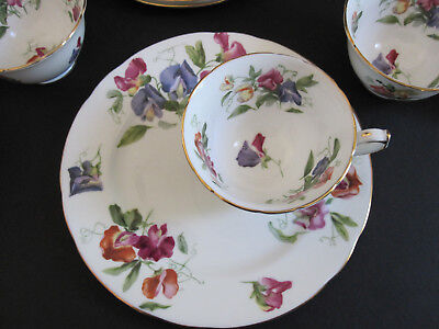 Hammersley Sweet Pea 5049 Snack Plate and Cup Set of 10 Vintage Bone China