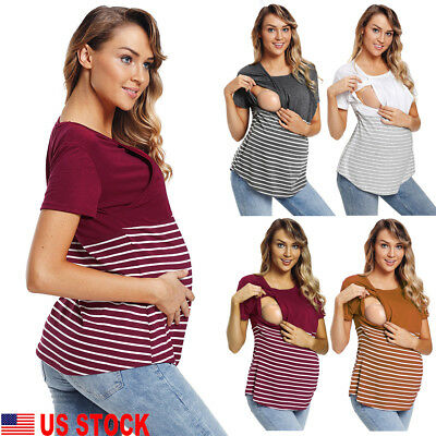 US Women Maternity T-shirt Breastfeeding Tops Striped Pregnancy Nursing Tee Tops