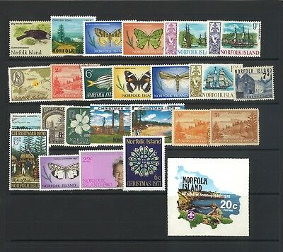 Norfolk Island 25 All Different Stamps Mint & Used in Glassine Bag