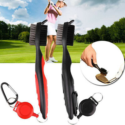 3pcs Retractable Reel Dual Bristle Golf Club Cleaning 3 in 1 Ball Cleaner Brush