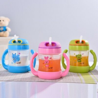 Baby Non-Spill Cartoon Sippy Cup Kids Handles Straw Trainer Drinking Bottle NEW