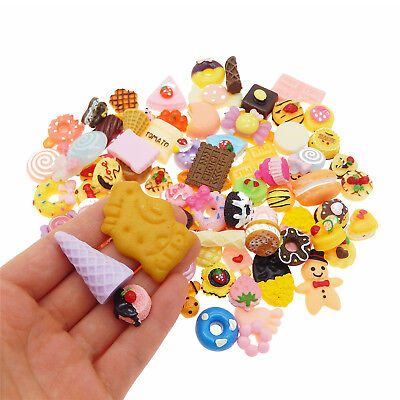 20pcs Flatback Resin Cakes Cookies Dessert Food Cabochons Decors Random 5-50mm