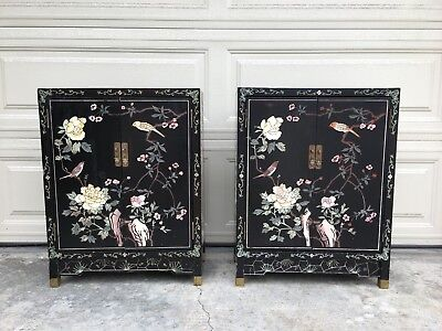 Antique Asian Black Lacquer Cabinets (Pair)
