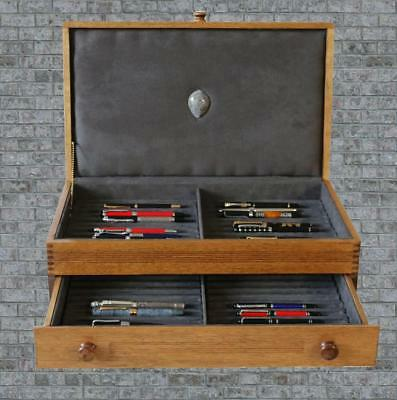 Fountain Pen Storage Display Chest, #651, Hand-Crafted, 42 Pens, Solid Oak, Usa