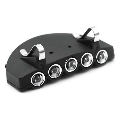 Metal clip-on 5 led head cap hat light headLamp torch camping outdoor