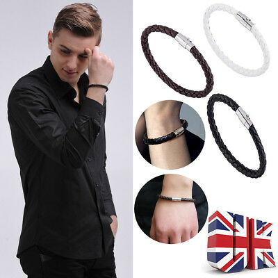 Mens real Leather Braided Wristband Bracelet Stainless Steel Magnetic Clasp UK