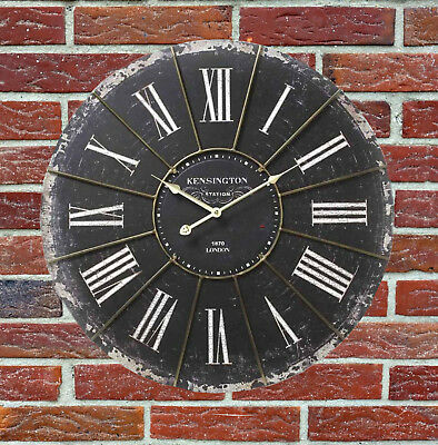 Black Wall Clock Antiqued Extra Large Shabby Chic Kensignton Station Clock 60cm