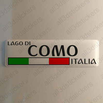 """Lake Como Italy Sticker 4.70x1.18"""" Domed Resin 3D Flag Stickers Decal Vinyl"""
