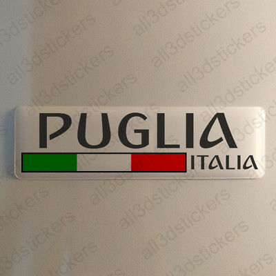"""Apulia Italy Sticker 4.70x1.18"""" Domed Resin 3D Flag Stickers Decal Vinyl"""