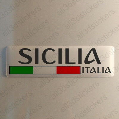 """Sicily Italy Sticker 4.70x1.18"""" Domed Resin 3D Flag Stickers Decal Vinyl"""