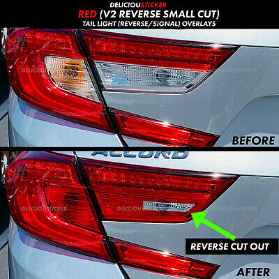 2018 19 Honda Accord Sedan RED Rear Tail Light REVERSE Cut Out V2 Overlay Tint